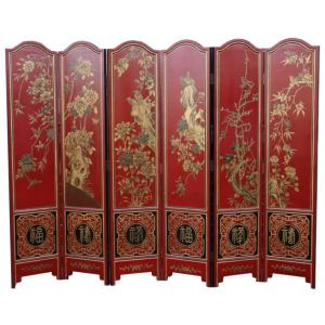 chinese red wedding screen